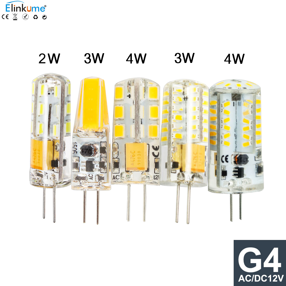 5pcs LED G4 AC/DC 12V Led bulb Lamp SMD 3014 2835 2W 3W 4W Replace halogen lamp light 360 Beam Angle luz lampada led