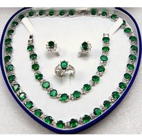 United States word Fine Women's gift WGP gems Green zircon Earring Pendant Ring Sets Necklace Bracelet + BOX USA Style
