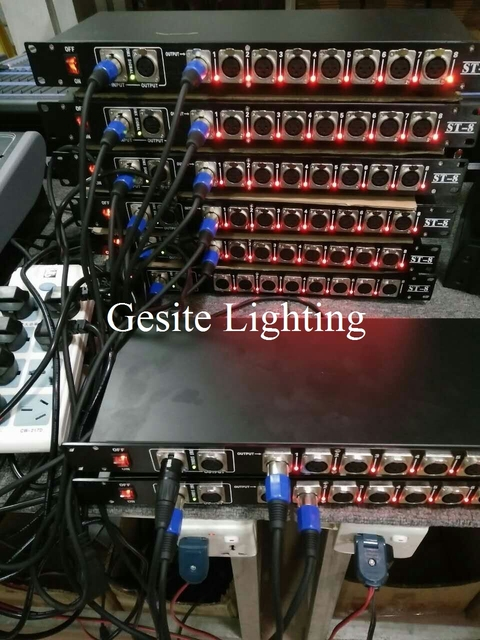 Freeshipping 8 Way Dmx 512 Signal Distributor Led Stage Lighting Control Road Distribution Amplifier Gold