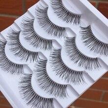 5 çift El yapımı Şeffaf Kök Yanlış Eyelashes Yumuşak Çapraz Doğal Uzun Göz Lashes Günlük Makyaj Araçları Sanat Kalın sahte Kirpik
