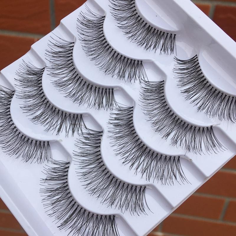 5 Pairs Hand-made Transparent Stem False Eyelashes Soft Cross Natural Long Eye Lashes Daily Makeup Tools Art Thick Fake Eyelashe