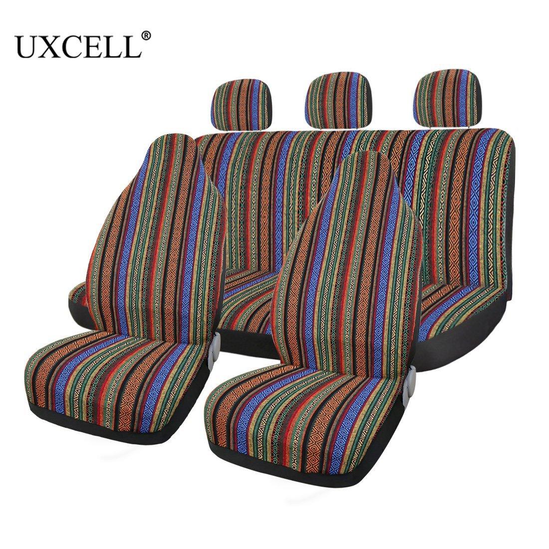 Uxcell 7 pièces universel multicolore Baja couverture Style ethnique Durable seau siège couverture pour voiture Auto automobile protecteur
