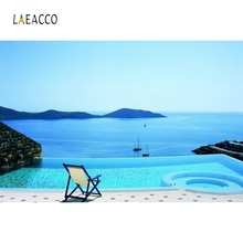 Laeacco Summer Holiday Portrait Seaside Sofa Nature Photography Backgrounds Customized Photographic Backdrops For Photo Studio