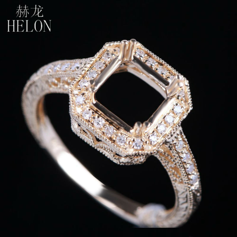HELON 7X7MM Cushion & 7MM Round Cut Solid 14k Yellow Gold Pave Natural Diamonds Engagement Semi Mount Art Deco Wedding RingHELON 7X7MM Cushion & 7MM Round Cut Solid 14k Yellow Gold Pave Natural Diamonds Engagement Semi Mount Art Deco Wedding Ring