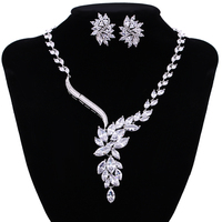Luxury Ruby Sapphire Emerald White Gold Plated Sparkling Cubic Zircon Bridal Flower Jewelry Sets For Women