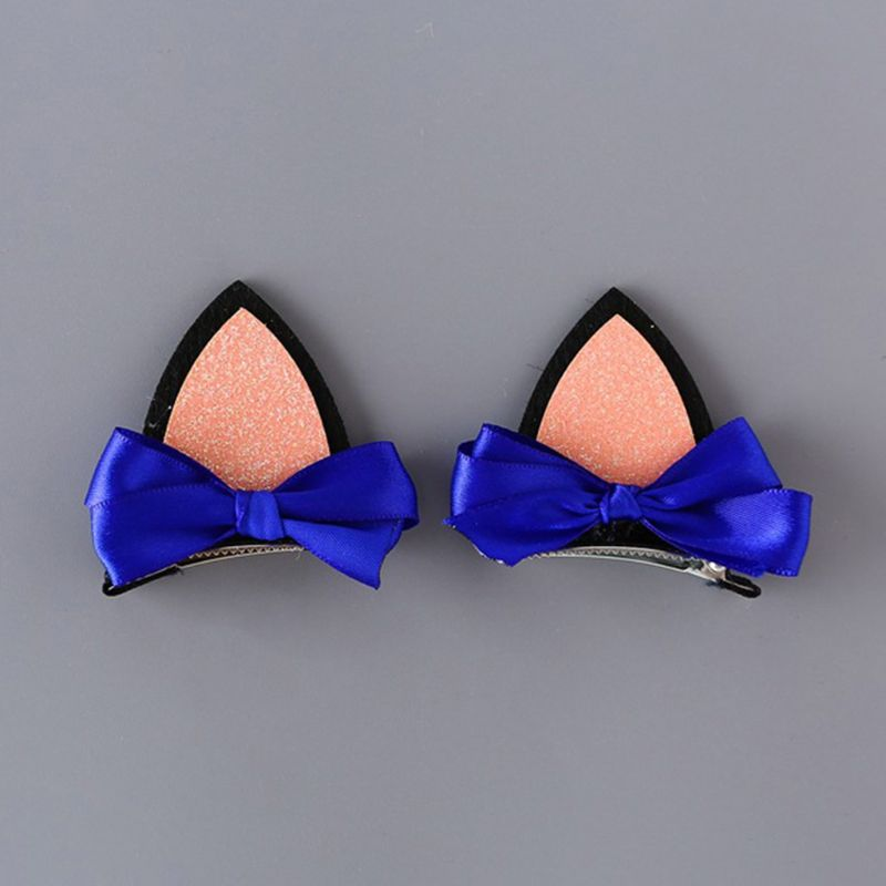 2 Pcs Girls Bow Knot Cat Ear Barrettes Glitter Hairpin Clip Kids Children Hair Accessory Daily Use Party Supply Gift