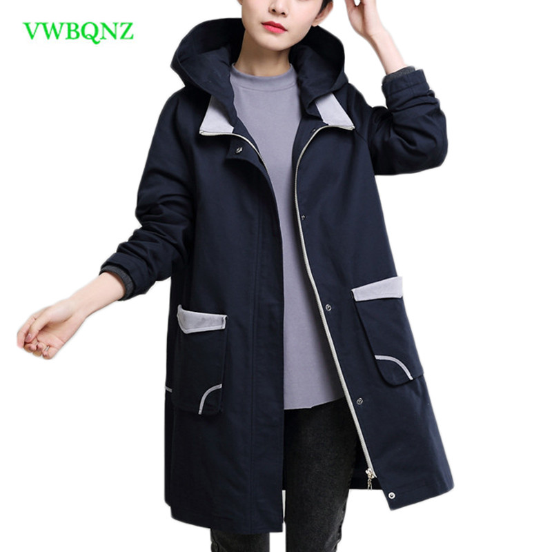 Autumn New Female Long Windbreaker coat Women Loose Plus size   Trench   Coats Womens Fashion Hooded Long sleeve Outerwear 4XL A926