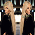Soft Long Silver Platinum Blonde Lace Front Lace Wigs Synthetic Ash Blonde Straight Heat Resistant Fiber Wigs For Black Women