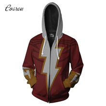 DC Anime Cosplay Captain Marvel Billy Batson Costumes 3D Printed Hoodie Men Sweatshirt Zip Hooded Sweater Jackets Halloween(China)