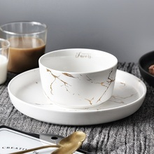 300MLsalad bowl soup ramen Marble Gold Bowl Ceramic Nordic marble golden rice snack breakfast