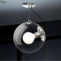 Modern Minimalism Clear Glass Dia25 30 35cm Led Pendant Light Plate Chrome Metal Hanging Light For