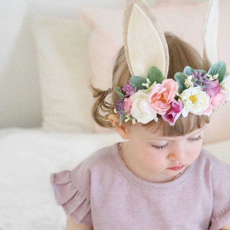 Baby Headband Bunny Flower Crown Hair Band Girls Easter 3D Rose Flower Headwear Unicorn Party Baby Hair Accessories D0823