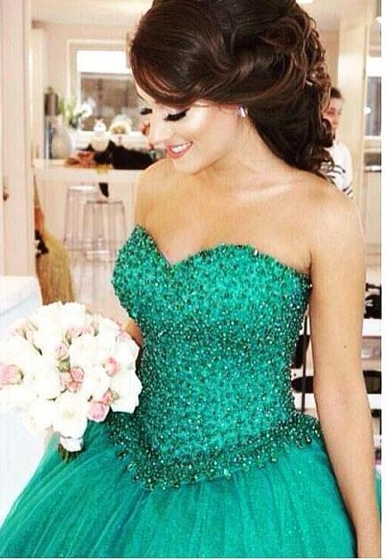 Green Puffy Tulle Ball Gown Wedding Dresses 2016 Sweetheart Beaded Crystal Colorful Wedding Gowns Luxury Bridal Gowns 2017