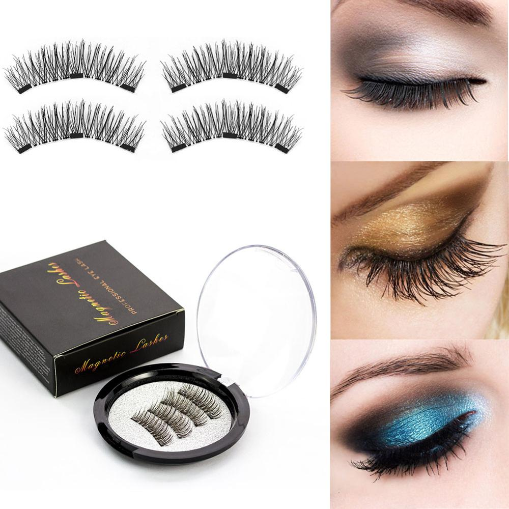 Magnetic Eyelashes With 3 Magnets Handmade 3D Magnetic Lashes Natural False Eyelashes Magnet Lashes