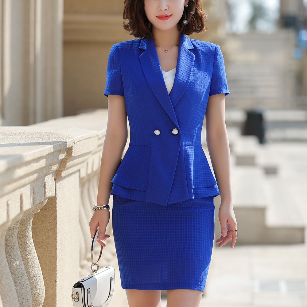 Summer Formal Skirt Suit 2 Pieces Set Women Short Sleeve Notched Jacket Blazer Skirt Suit Business Office Suit Clothing 808855