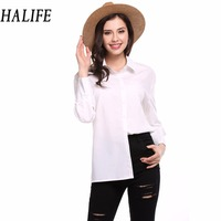 HALIFE Sexy Open Back Bow Shirt Women Tops Ladies Korean Fashion Button Down Casual Party Blouses