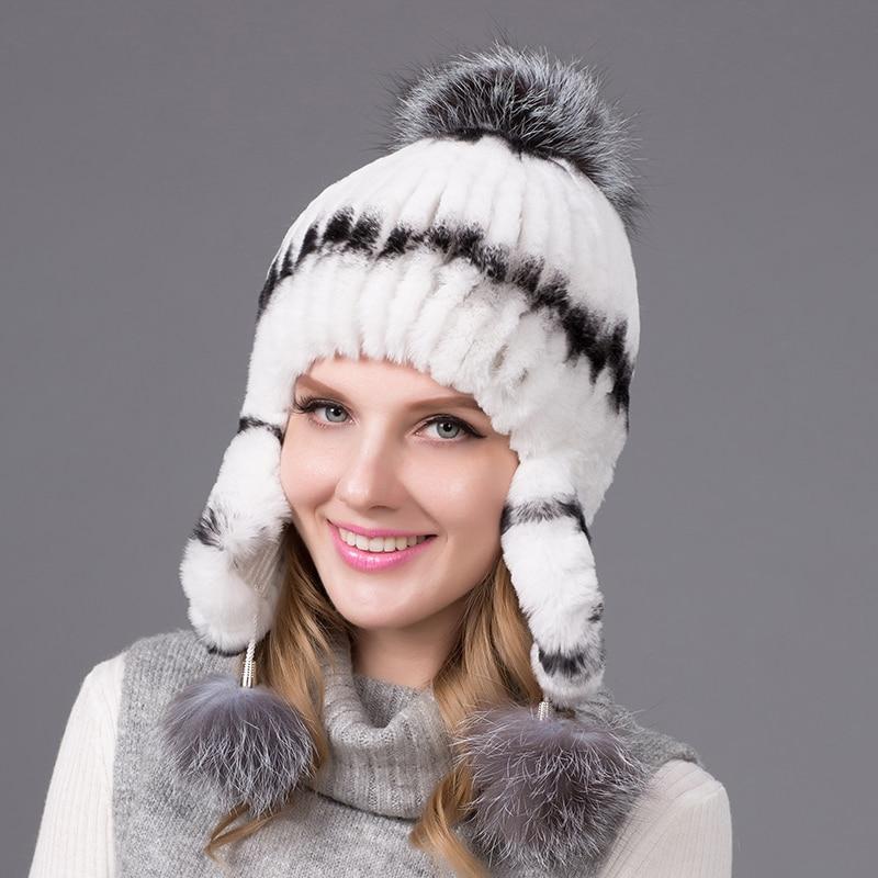 100% Real Rex Rabbit Fur Headwear Silver Fox Fur Decorated Fur Hats Earmuffs Women Cap Natural Fox Fur Ball Winter Cap THY-07