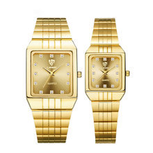 Часы наручные мужские/женские кварцевые с золотым браслетом