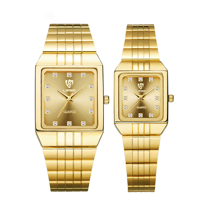 Golden Quartz Watch Men Women Luxury Watches Relogio Masculino Luxury Gold Bracelet Wrist Watches Steel Female Male Clock 8808