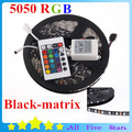 Waterproof 5050 Blackboard 5050 LED Strip RGB Black-matrix Ribbon with 60Leds/M 5050 Blackbase 24Key controller Free Shipping