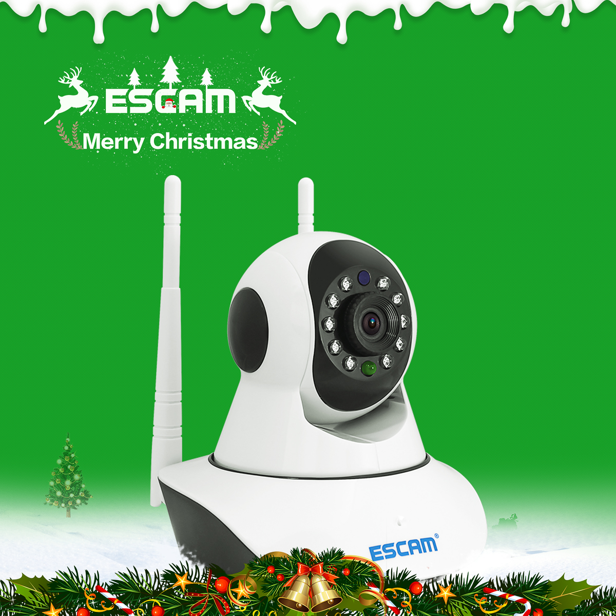 ESCAM G02 720P Dual Antenna Home Camera Pan/Tilt WiFi IP IR Camera Support ONVIF Video Monitor IP camera guudgo gd sc02 720p cloud wifi camera ip camera pan