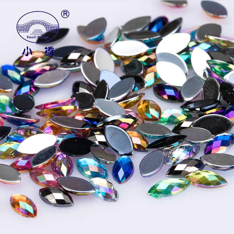 1000 PCS Glitter Plaksteen Paard Oog Strass AB Kleur 3D Nail Art Strass Losse Decoratieve Lijm Op Acryl Steentjes S031