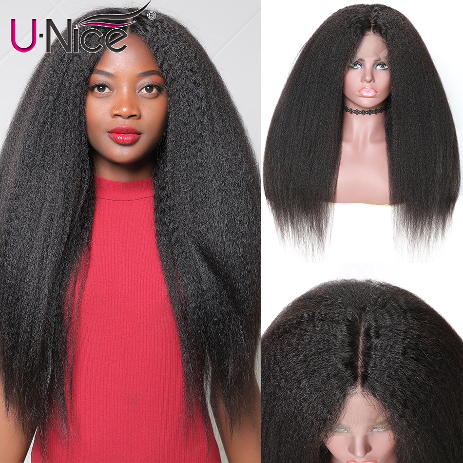 Unice Hair 360 Lace Frontal Wig Kinky Straight Lace Wig 150% & 180% Density Brazilian Human Hair Wigs Remy Human Hair Wigs(China)