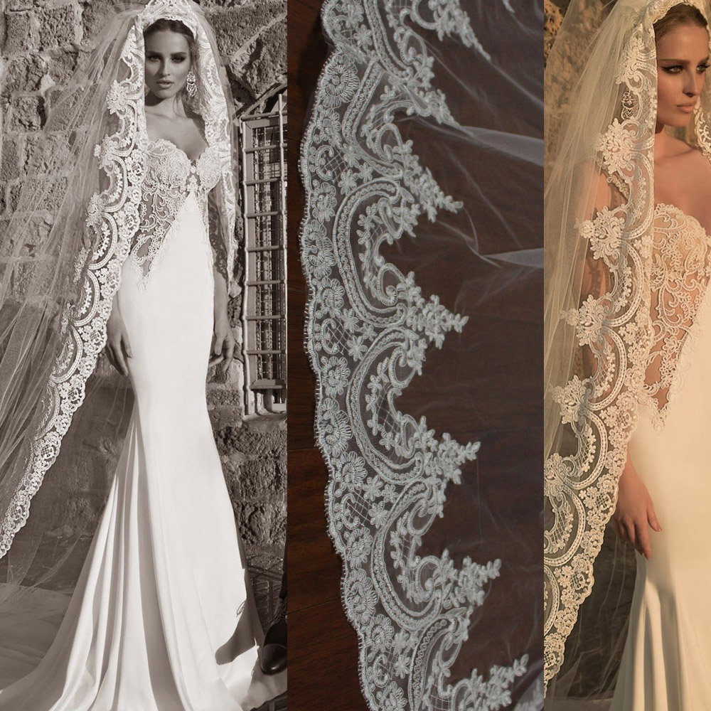 New Lace Long Wedding Veil One Layer Cathedral Length Bridal Veil with Comb Voile de Mariee Wedding Accessoires