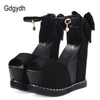 Gdgydh Open Toe Summer Wedges Female Sandals Super High Heels Cover Shoes Casual Party Flock Platform Sandals Woman Sexy Crystal