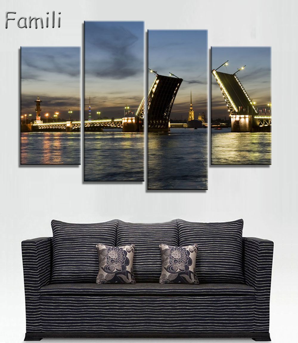 4pcs Moscow Russia architecture city landscape living room home wall modern art decor wood frame poster, pictures