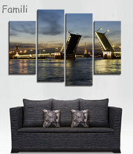 4pcs Moscow Russia architecture city landscape living room home wall modern art decor wood frame poster, pictures цены