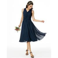 LAN TING BRIDE A Line V Neck Bridesmaid Dress Tea Length Chiffon With Criss Cross Ruching