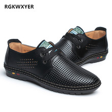 RGKWXYER New Genuine Leather Men Sandals Fretwork Breathable Hole Shoes Outdoor Casual Fashion Roman 1