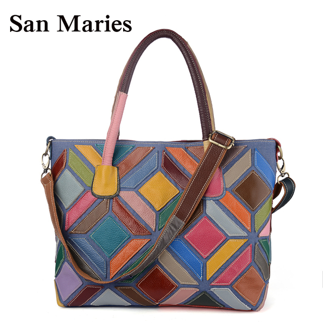 ee54714ac098 San Maries Women Bag Leather Tote Bags Ladies Handbag Lady Purse Colorful  Patchwork Female Travel Fashion Purse