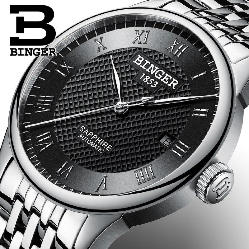 Suisse BINGER montres hommes de luxe marque saphir étanche natation auto-vent automatique remontage mécanique montres-bracelets B-671-2