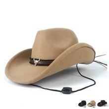 Fedora-Cap Cowboy-Hat Western Outblack Women Jazz Wool Sombrero Cow-Gentleman Hollow