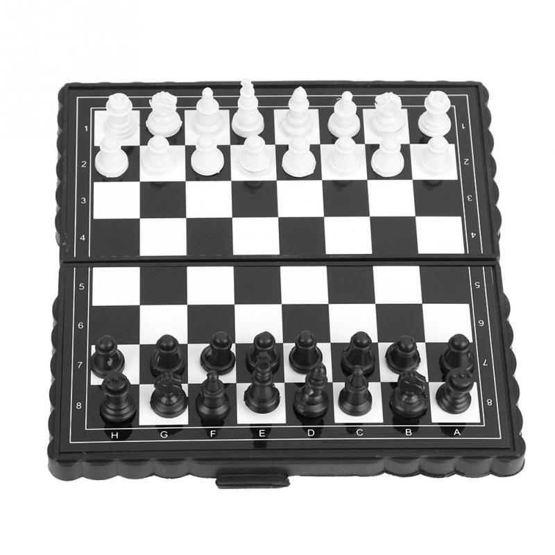 Portable Plastic Folding Chessboard Magnetic Chess Set Board Game International Chess for Party Family Activities