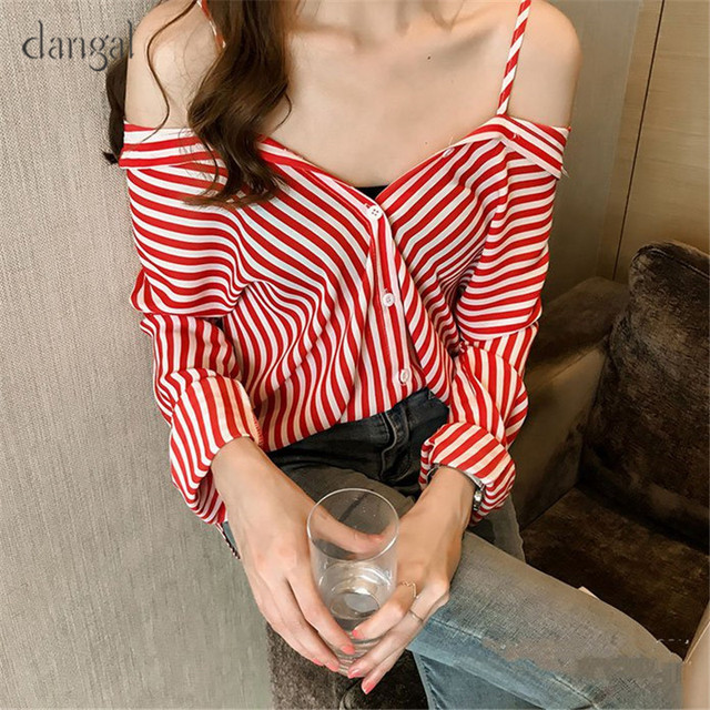 9ca35eabc2b Dangal Vintage Blouse Women Plus Size Long Sleeve Blouse Womens Casual Tops  Red Striped Shirts Blouses