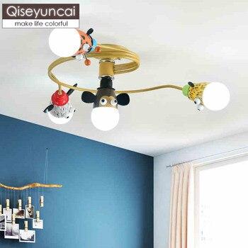 Qiseyuncai נורדי מודרני ילדי של חדר תקרת מנורת זכר ילדה קריקטורה בעלי החיים ילדי חדר שינה פשוט מנורות משלוח חינם-בתאורת תקרה מתוך פנסים ותאורה באתר