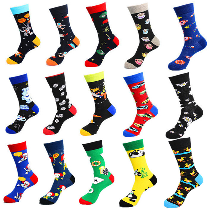 Newest Novelty Colorful Men's Combed Cotton Casual Dress Socks Astronaut Panda Duck Pattern Funny Skateboard Socks For Gifts
