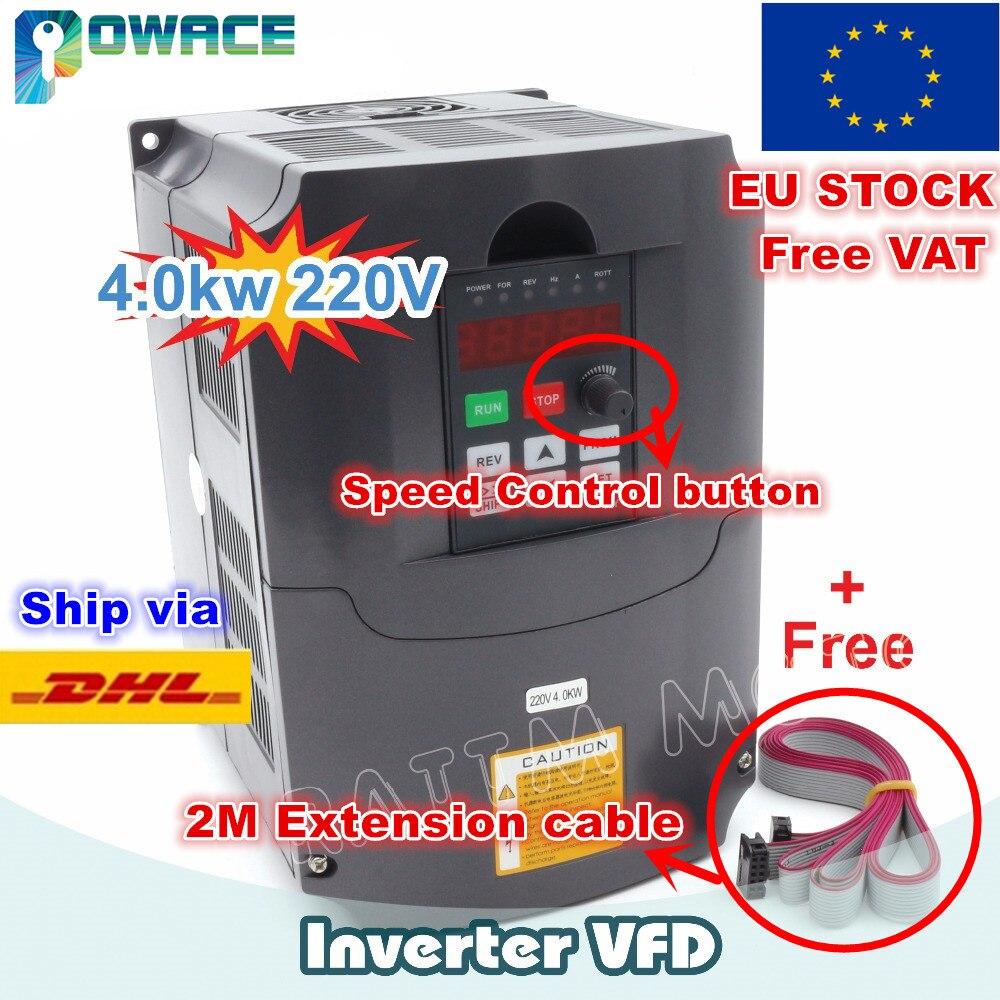 [Ue/RU Dlivery] 4KW 220 V ou 380 V VFD variateur de fréquence 4HP 18A contrôle de vitesse et câble d'extension 2 M