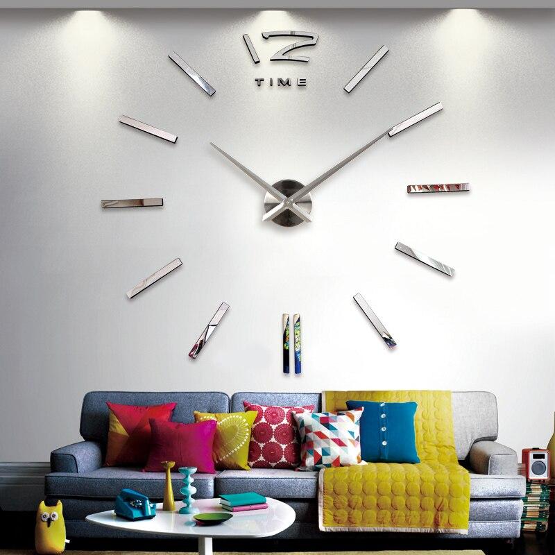 Bricolage 3D conceptions modernes sans cadre grande horloge murale miroirs visage minuterie décor à la maison les grandes heures