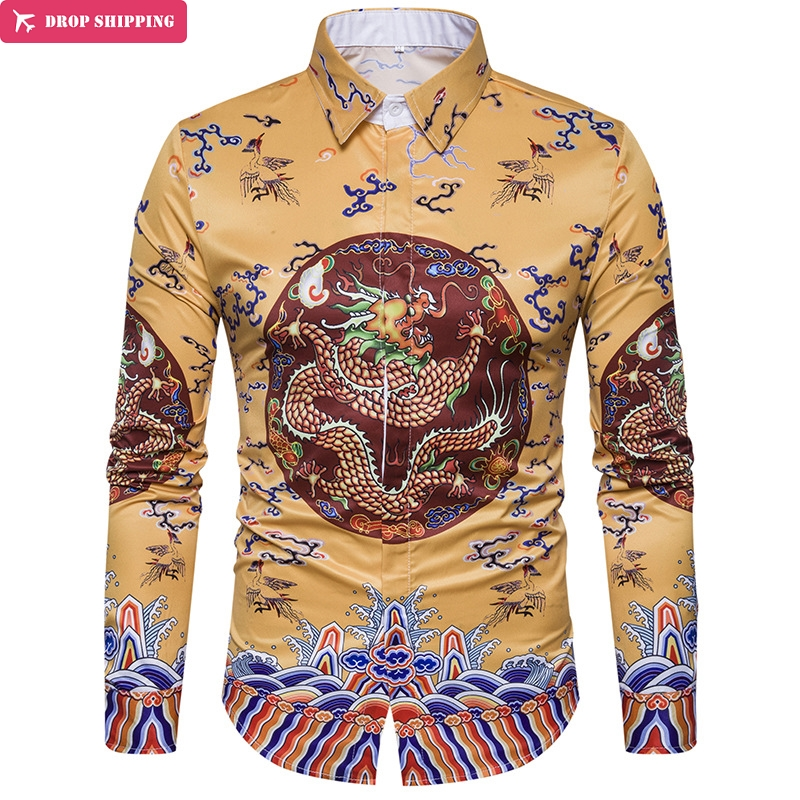 European New Robes 3D Shirt Mens Shirt Printing Chinese Wind C407