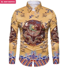 European new robes 3D Shirt Mens printing Chinese wind C407