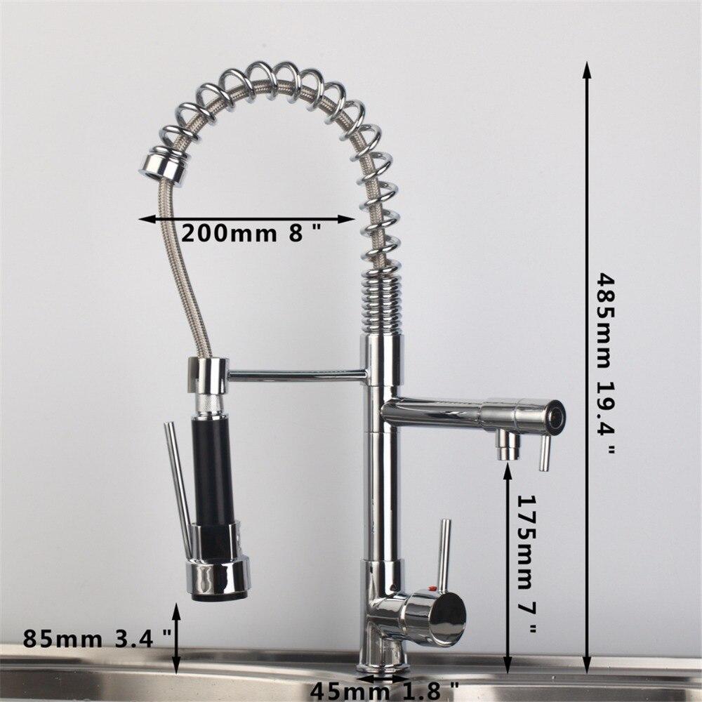 Best Chrome Finish Dual Spout Kitchen Sink Faucet Deck Mount Spring Kitchen Mixer Tap Kitchen Hot