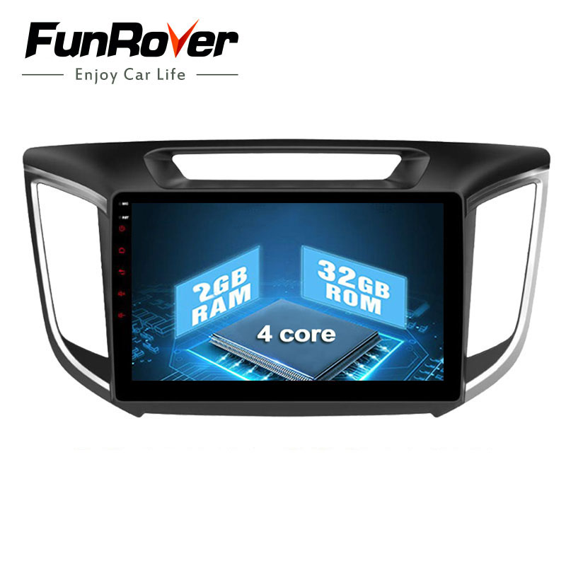 Funrover 2 din 10.1 inch Android 8.0 2G+32G car radio DVD Player GPS Navi For hyundai ix25 creta 2014 2015 2016 Support DVR wifi