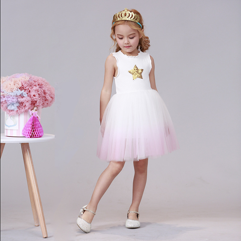 Summer Kids Dresses For Girls Casual Wear Bling Star Girl Dress Children Boutique Clothing Tutu Baby Girls Clothes G023 in Dresses from Mother Kids