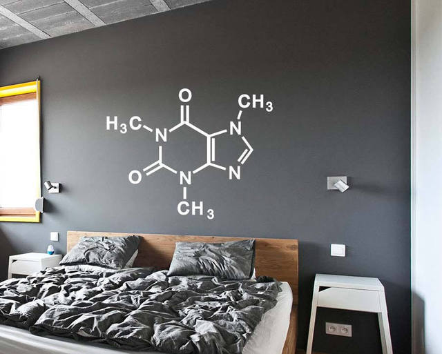 Wall Decal Art Home Decor Caffeine Molecule Periodic Table Elements Chemistry Vinyl Sticker Bedroom