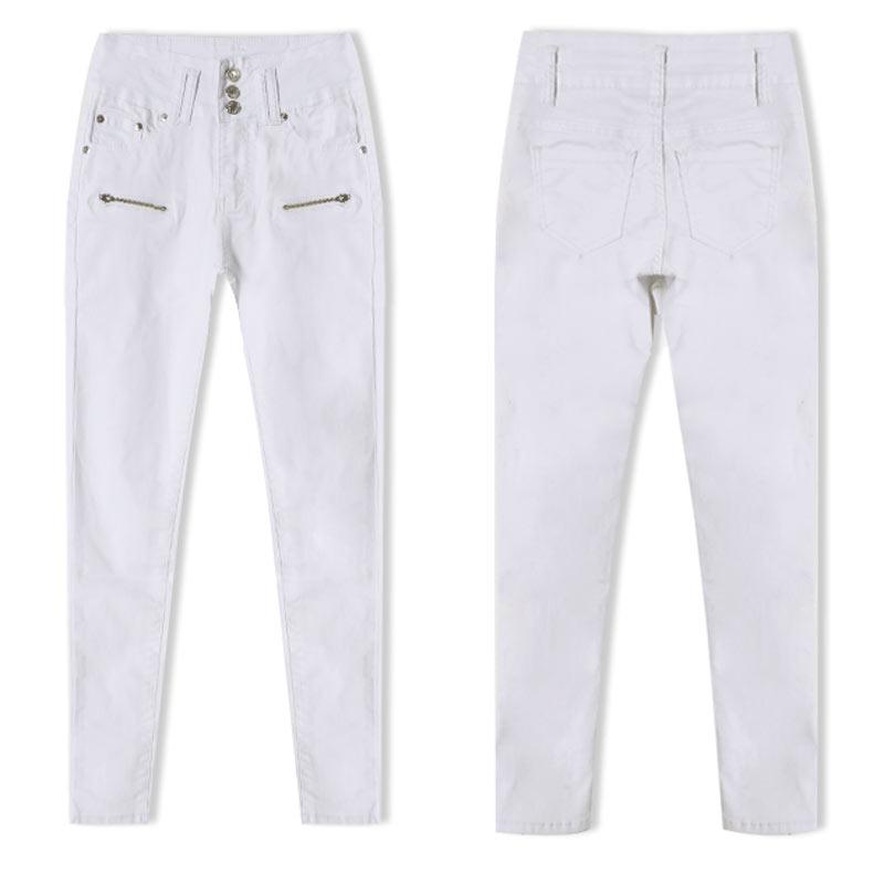 Սպիտակ ձգվող ջինսե բարձր իրանով ազդրի - Կանացի հագուստ - Լուսանկար 4
