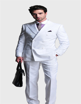 Free shipping Italian high quality worsted 100%Wool suit Double-breasted white suit wedding suit Evening suit(jacket+pants)